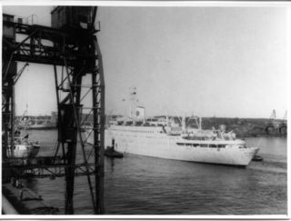 MS Stockholm LeavingGothenberg 1955
