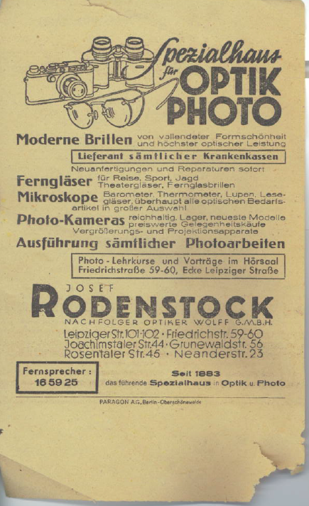 Josef Rodenstock photo slip side 2 1941 Berlin