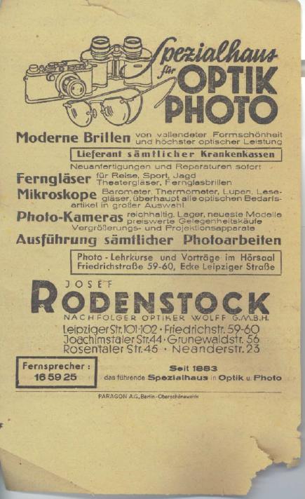 Josef Rodenstock photo slip side 2 1941 Berlin