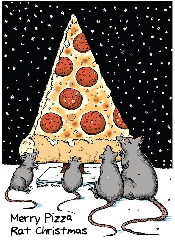 Merry Pizza Rat Xmas Bannerman