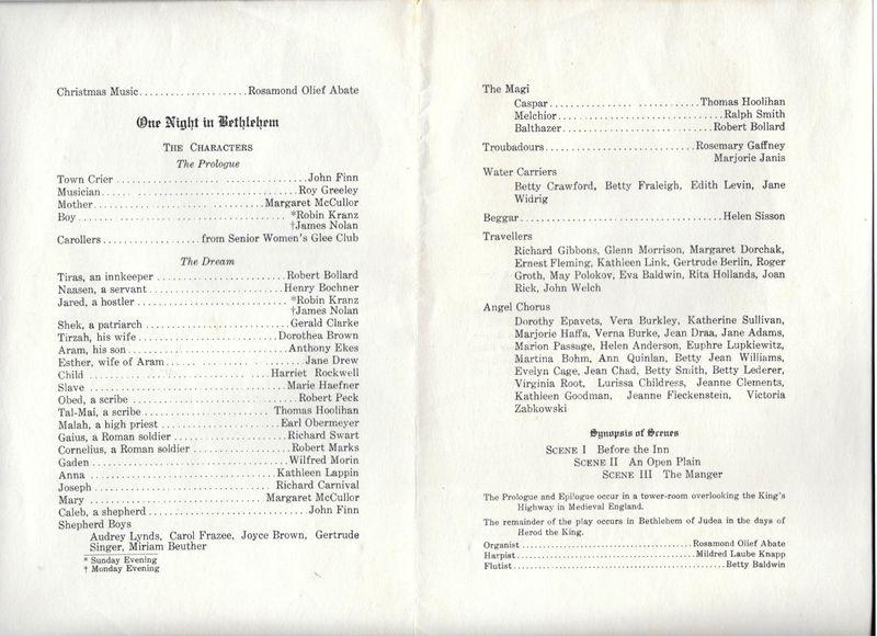 1938 State Teachers College Nativity Play Program 2