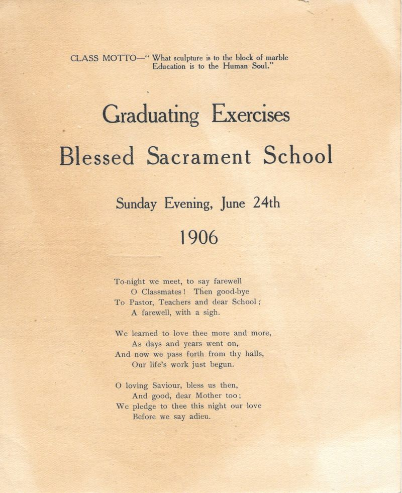 1906 Blessed Sacrament School Graduating Exercise Booklet 1