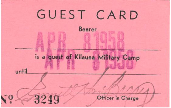 Guest Card 1958 Kiluea Military Camp Golf Course