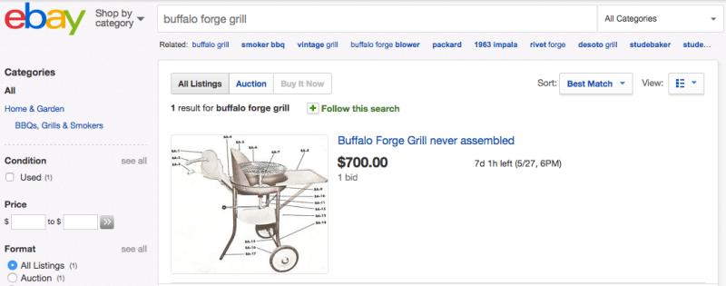 Buffalo Forge grill eBAY