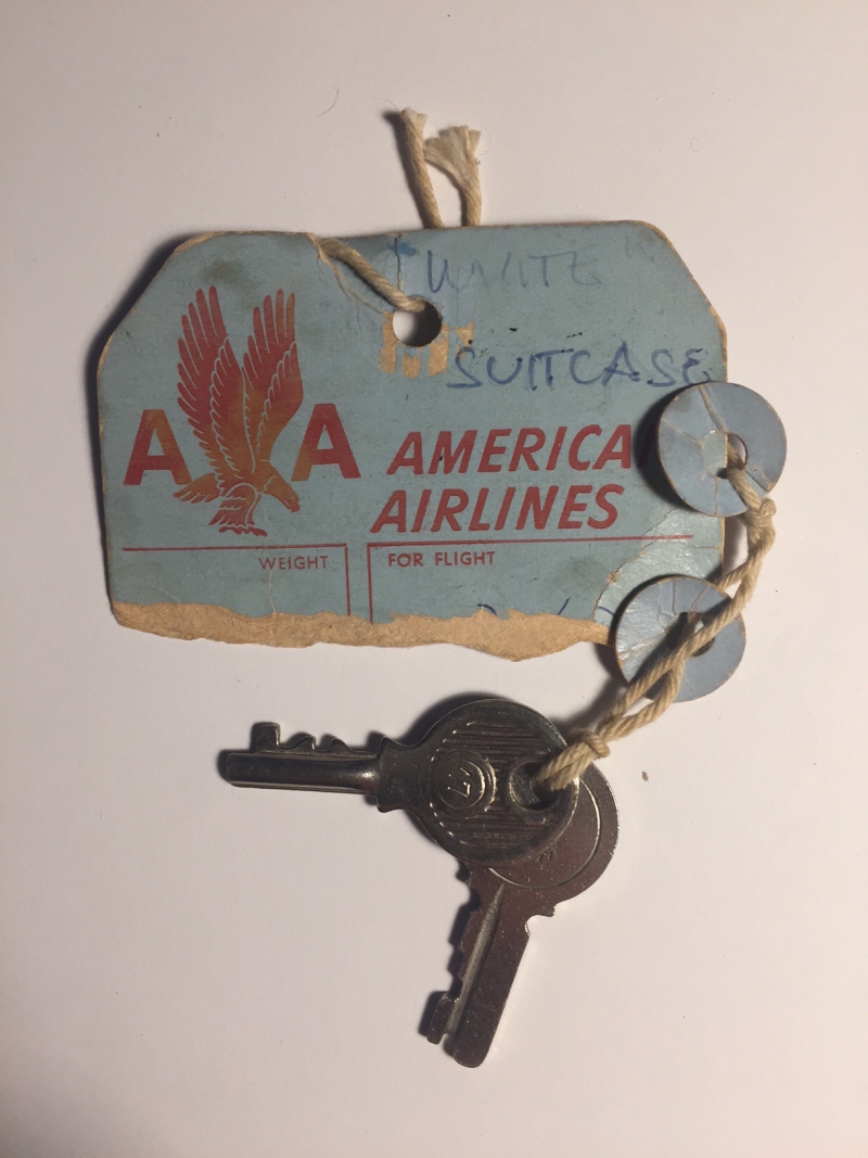 Suitcase key and American Airlines tag 1950s