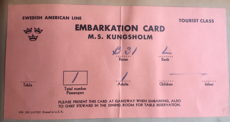 M.S. Kungsholm Embarkation Card 1956