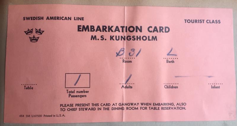 M.S. Kungsholm Embarkation Card 1956