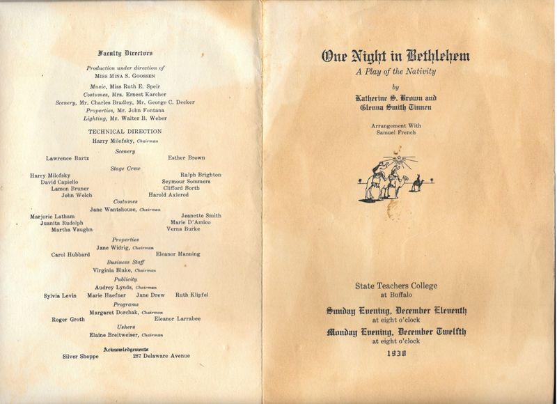 1938 State Teachers College Nativity Play Program 1 1