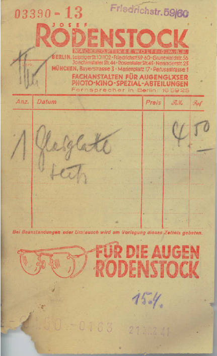 Josef Rodenstock photo slip Berlin 1941
