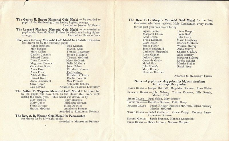 1906 Blessed Sacrament School Graduating Exercise Booklet 2