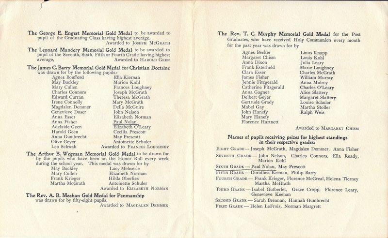 1906 Blessed Sacrament School Graduating Exercise Booklet 2