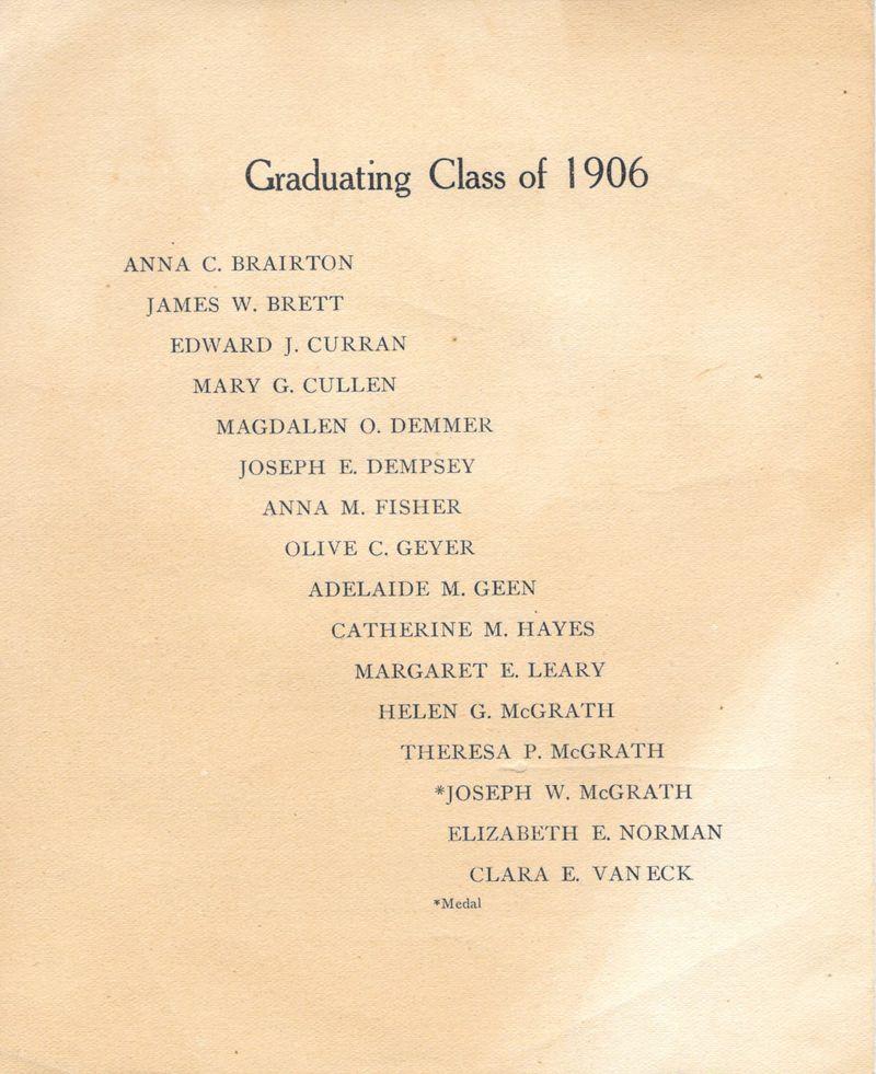 1906 Blessed Sacrament School Graduating Exercise Booklet 3