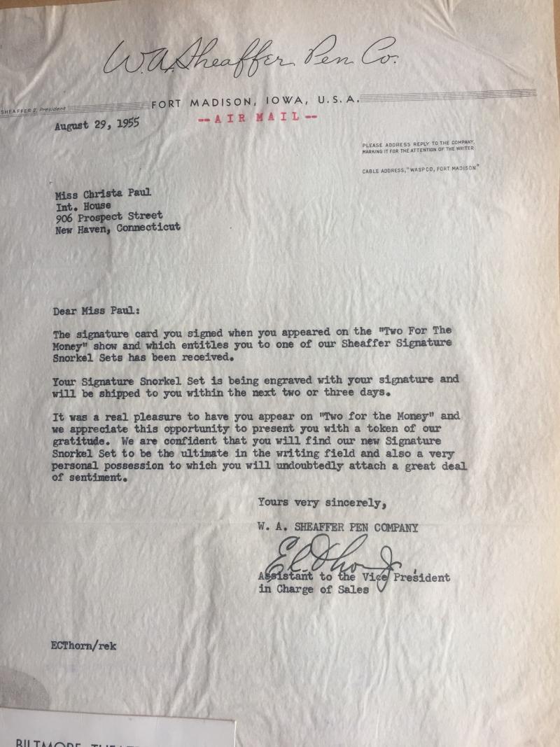 Sheaffer Pen Prize Letter TV Show Two for the Money