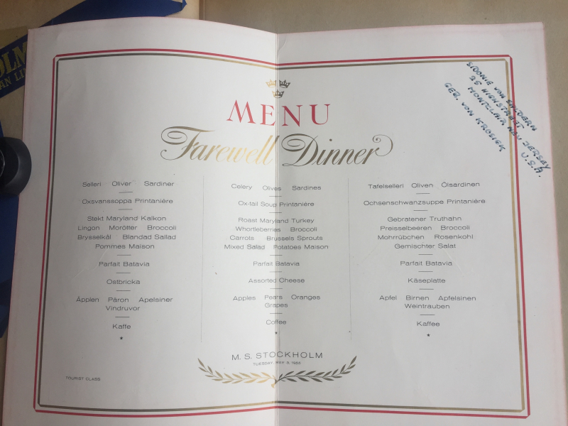 M.S. Stockholm Menu Spread May 3 1956