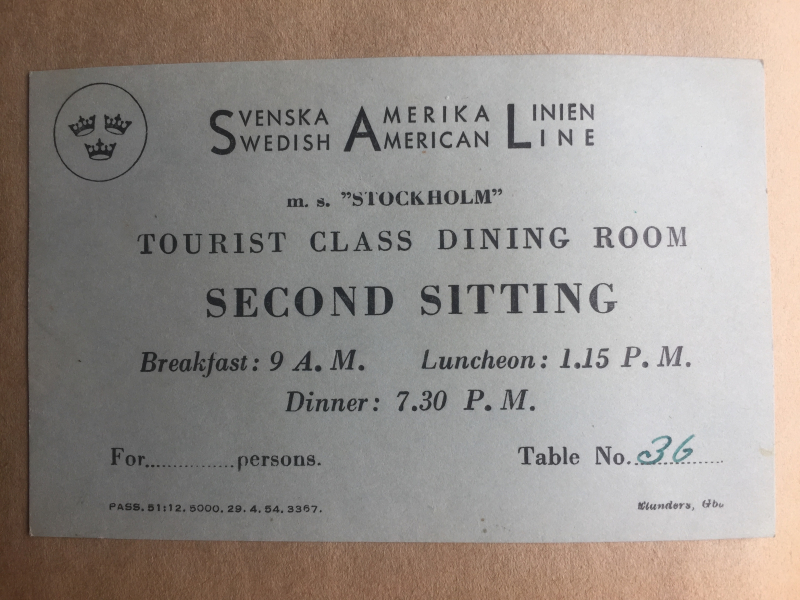 Tourist Class Dining Room Ticket M. S. Stockholm
